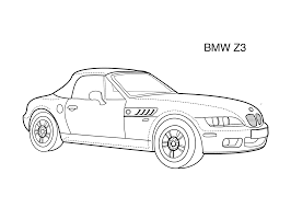 car coloring page for kids super car bmw z3 printable free