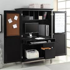 apartments modern home office design with black computer armoires