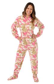 pink camouflage fleece footed pajamas big footed