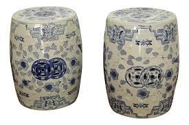 pair of vintage blue and white porcelain chinese garden stools