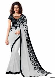 Light Grey Color by Shikshapatri Light Grey Color Embroidary Attractive Saree