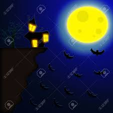 halloween background moon terror night halloween background with house near a risky cliff