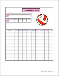 stat sheet volleyball keep track of the players the scores