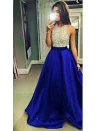 2017 halter neck prom dresses royal blue puffy long formal a line
