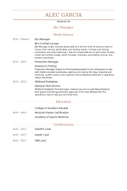 Example Of Manager Resume by Bar Manager Resume Samples Visualcv Resume Samples Database