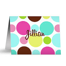 polka dots personalized note cards gifts