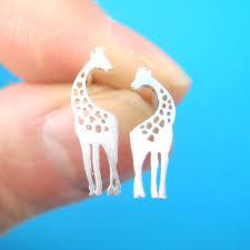 giraffe earrings giraffe and baby silhouette shaped stud earrings in silver