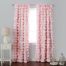 Vertical Ruffle Curtains by Bathroom Pink Ruffle Curtains With Side Table And Wooden Floor