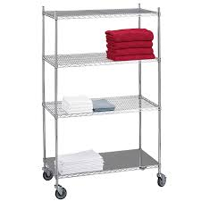 Metal Wire Shelving by R U0026b Wire Lc243672sol Portable U0026 Adjustable Metal Wire Linen Cart