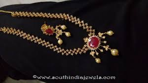 gold plated simple necklace images Gold plated ruby necklace set south india jewels jpg