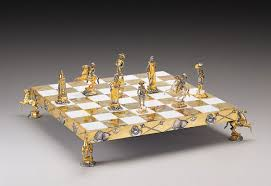 superb gold and silver plated chess sets by piero benzoni