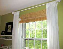 classy hanging bamboo roller outside mount blinds with double