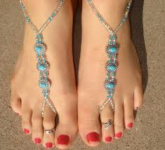 ankle bracelet with images Silver and turquoise oval barefoot sandals slave anklet foot jpg