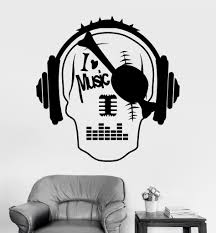 vinyl wall decal music skull headphones night club teen room vinyl wall decal music skull headphones night club teen room stickers ig3229