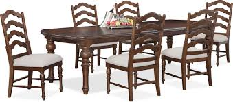 charleston rectangular dining table and 6 side chairs tobacco