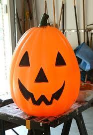 plastic pumpkins paper mache jackolanterns spooky blue