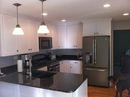 White Cabinets In Kitchen Slate Gray Appliances In Kitchen After Granite Counter Tops
