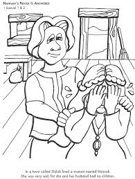 Learn Bible Stories With Hannah S Prayer Is Answered Bible Samuel Coloring Pages