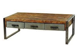 industrial coffee table with drawers moti furniture addison reclaimed wood and metal coffee table 3