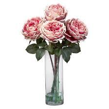 Silk Flower Centerpieces Nearly Natural Fancy Rose W Cylinder Vase Silk Flower Arrangement