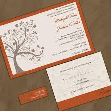 modern fall maple tree wedding invitation sample packet