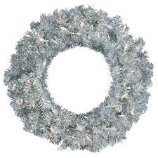vickerman silver 24 inch artificial wreath with 50 clear dura lit
