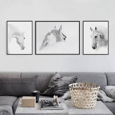 equine home decor triptych modern minimalist black white horse animal head photo art