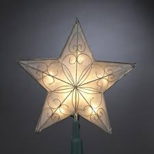lighted capiz star tree topper 8 5 pre lit capiz style scrolling star christmas tree topper