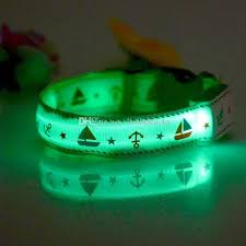 dog collar lights waterproof online cheap fashion sailor label pattern led light pet collars