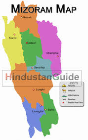 India Map Of States by Map Of Mizoram Districtwise Mizoram Map Pilgrimage Centres In