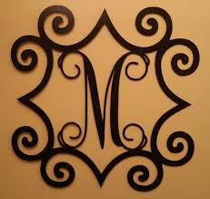 iron on monogram initials single initial steel monogram with wrought iron inspired scroll