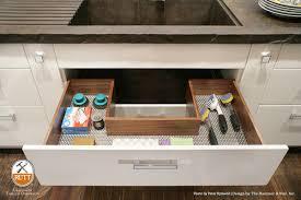 under kitchen sink cabinet liner custom configured u shaped drawer crafted in walnut and designed