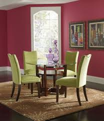 dining room brown lacquered wood dining room set with green