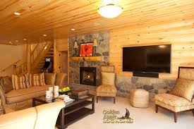 golden eagle log homes log home cabin pictures photos finished basement fireplace interior