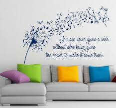 Wall Art Home Decor Wall Vinyl Decal Sticker Dandelion Music Quote Musical Notes Art