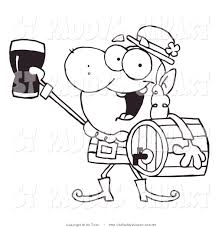 vector clip art of a coloring page leprechaun carrying a beer keg