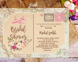 travel themed bridal shower travel theme invite etsy