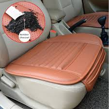 brown leather car seat covers universal seat pad pu leather bamboo