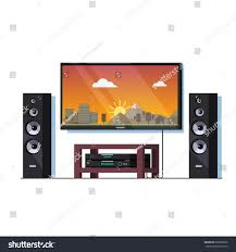 home theater system stand modern home theatre system high end stock vector 659896036