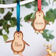 personalised wooden penguin decoration ribbon colors penguins
