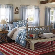 upscale coastal home bedroom rustic bench red white blue shark