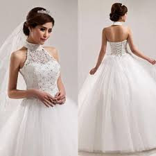 wedding dress up gown princess style wedding dresses halter high neck