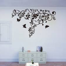 black flower vine butterfly simple style removable wall stickers black flower vine butterfly simple style removable wall stickers diy wallpaper mural home living room decoration