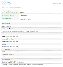 pta meeting minutes template for word dotxes