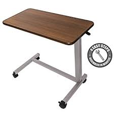 bedside table amazon amazon com medical adjustable overbed bedside table with wheels
