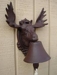 new cast iron rustic moose elk w antlers dinner bell bar cabin or
