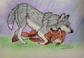 fox and wolf hug by natsumewolf on deviantart