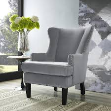 Grey Accent Chair Velvet Wingback Accent Chair