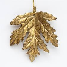 4 inch antique gold autumn maple leaf ornaments