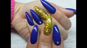 how i do my nails blue and gold set gel nails youtube